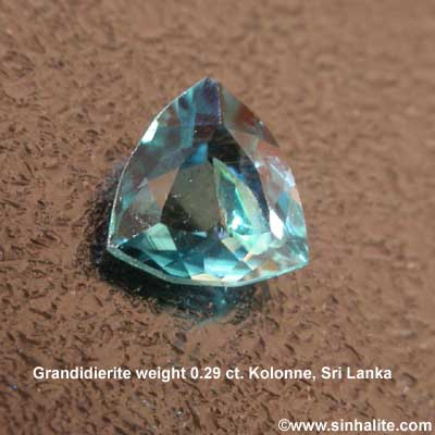 Grandidierite faceted gemstone weight 0.29 ct. from Sri Lanka